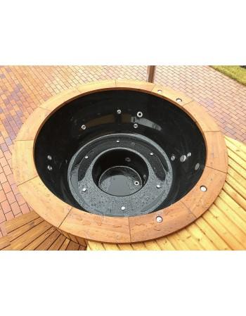 Fiberglass Badetonne aus schwarze mit Thermoholzausarbeitung