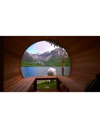 Panoramafenster für Sauna