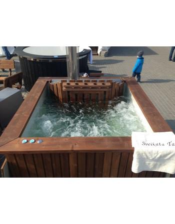 Badezuber eckige aus Thermoholz mit Kunststoffeinsatz