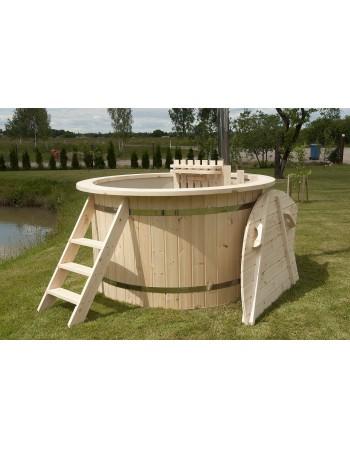 Hot Pott Kunststoff mit Tannenholz Verkleidung 150 cm