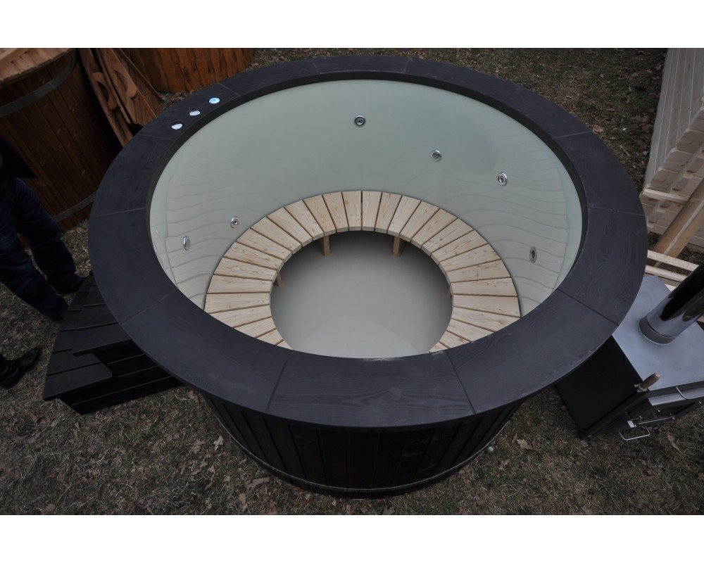 Badetonne Kunststoff Schwarz Vulcano 1.6 m