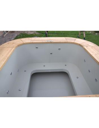 Badewanne aus Lärche mit Kunststoff
