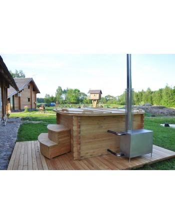 Badezuber eckige mit Kunststoff und Lärchenholz Verkleidung